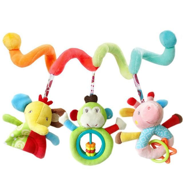 Infant Crib Cot Pram Hanging Rattles Spiral Stroller Car Seat Activity Toys cby