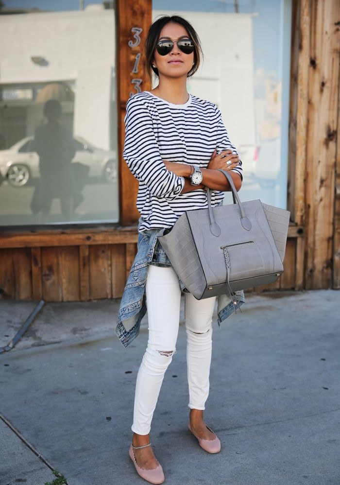 Sincerely Jules, Ripped White Jeans, Stripes, Grey Celine Bag http://FashionCognoscente.blogspot.com