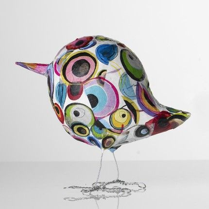 Paper Bird: I want to make this bird... Tutorial for similar bird here: http://www.thatartistwoman.org/2010/09/paper-mache-birds.html#