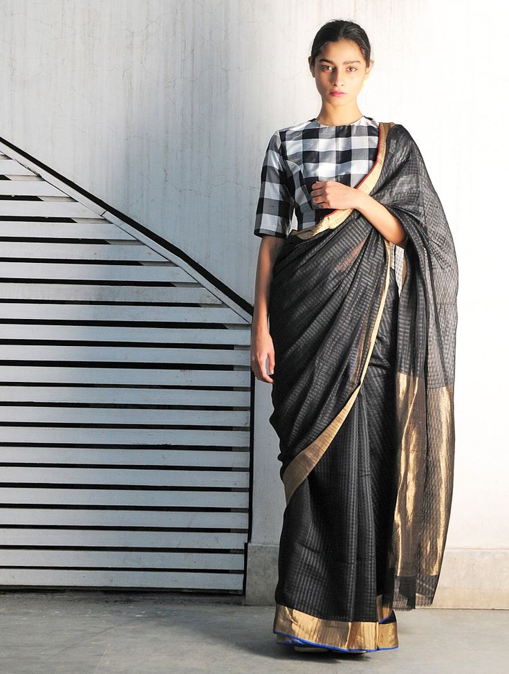 Buy Black Bali Chanderi Handwoven Saree By Raw Mango Online at Jaypore.com