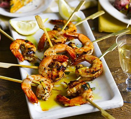 Smoked paprika prawn skewers. Healthy and packed with summer flavours, these paprika-spiked prawn skewers are based on pintxos - the Basque version of tapas