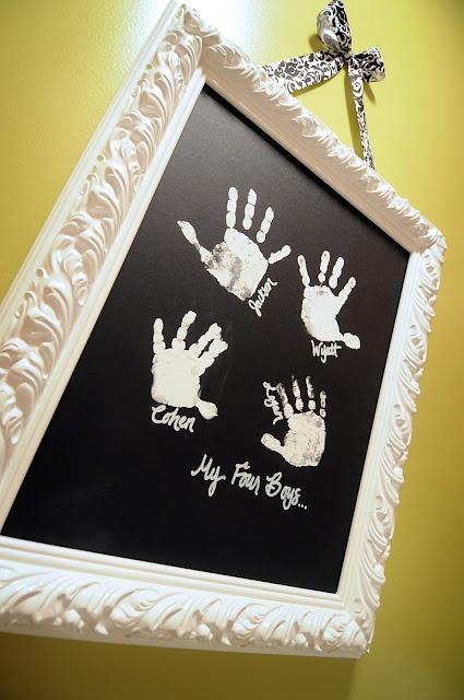 kids hand prints on black mat board