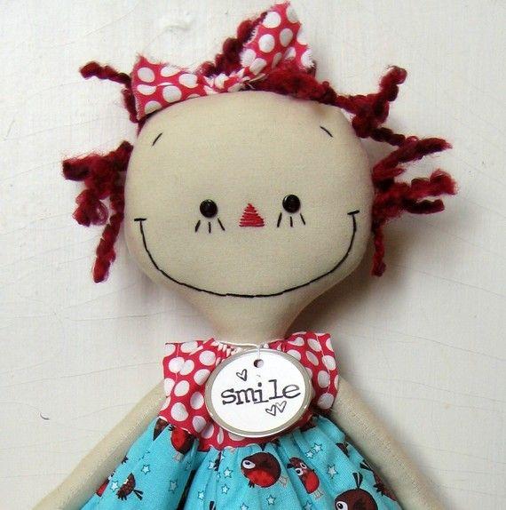 Annie in a Robin Dress handmade cloth rag doll by SugarAndSpice