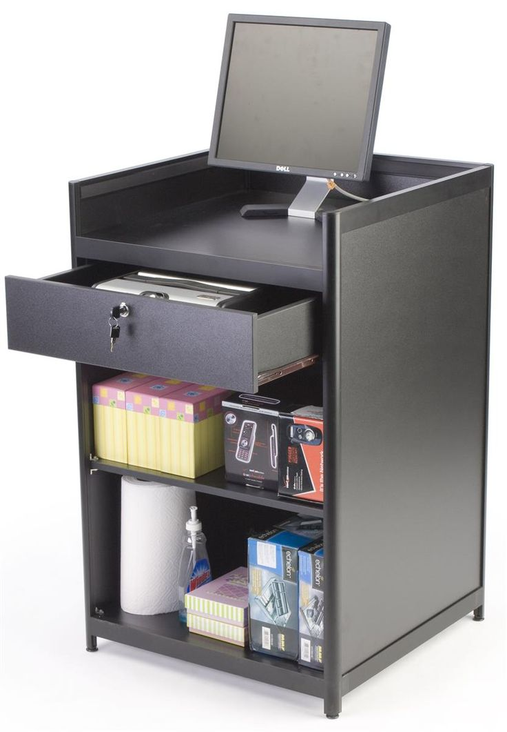 24 x 38 x 23-3/4-Inch, Black Laminate Cash Register Stand With Locking Drawer And Adjustable Shelf