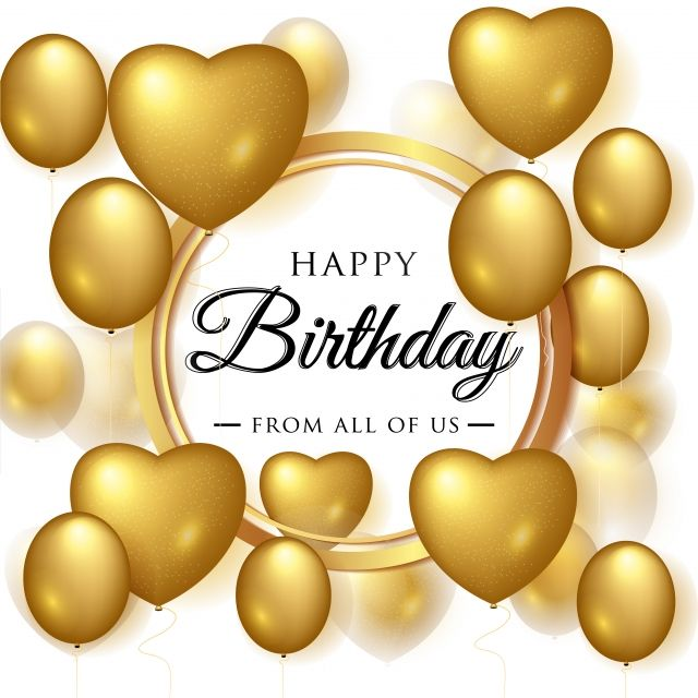 Vector Birthday Elegant Greeting Card With Gold Balloons Birthday Happy Balloon Png And Vector With Transparent Background For Free Download Guestbook Birthday Gold Balloons Happy Balloons