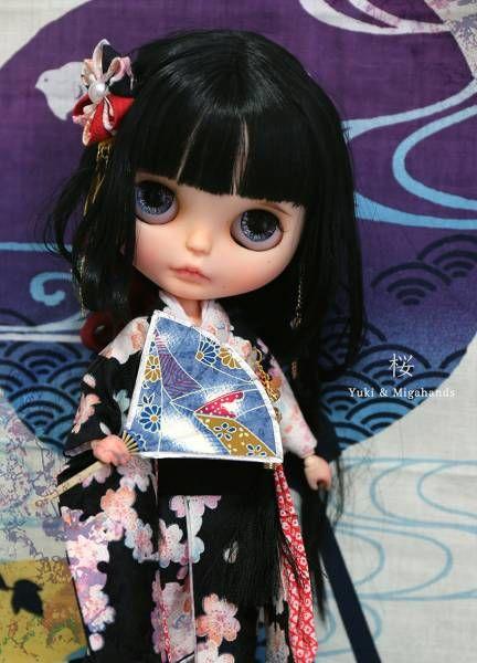 ***yukicat***カスタムブライス Custom Blythe「♪桜ちゃん♪」 ☆手作り振袖着物フルセット☆_画像2