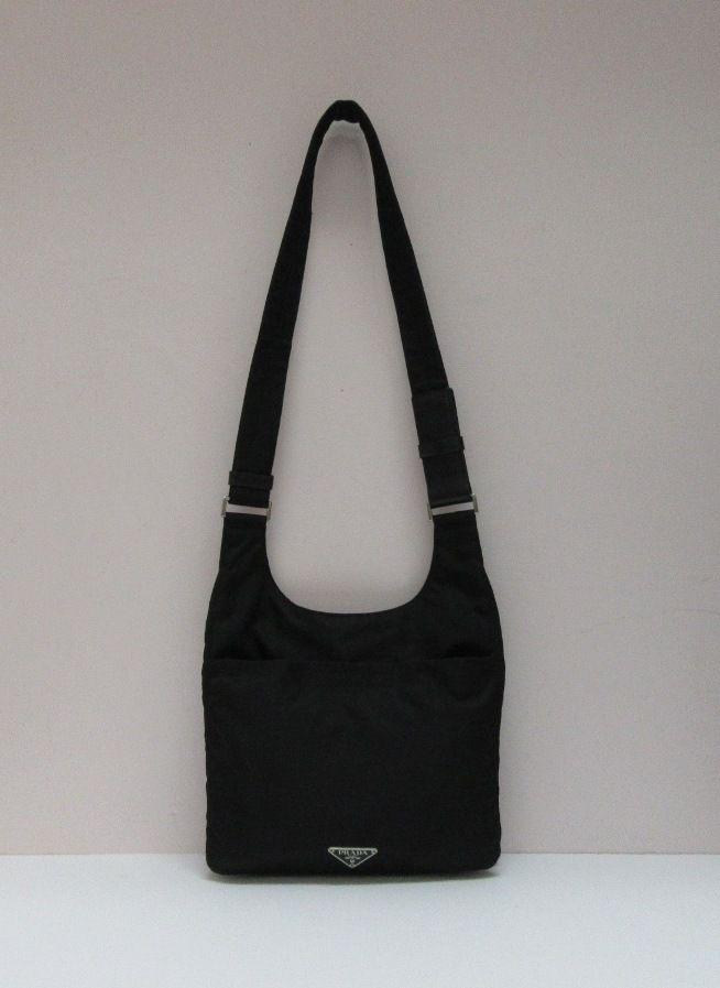 Prada black Tessuto nylon shoulder bag.