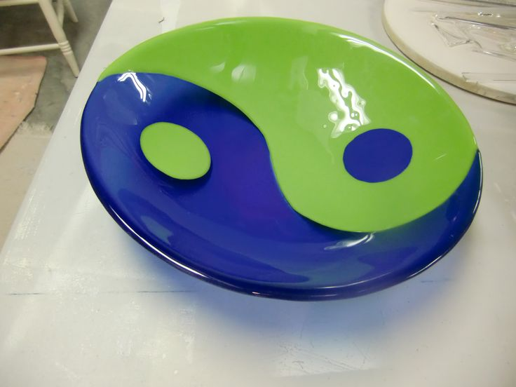 "yin  yang 20"" fused glass bowl, opaque green and transparent blue. Wedding gift for a lovely couple."