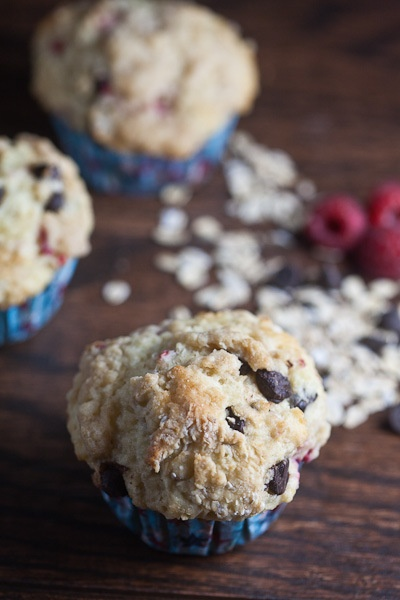healthy and delicious bakery style raspberry chocolate muffins