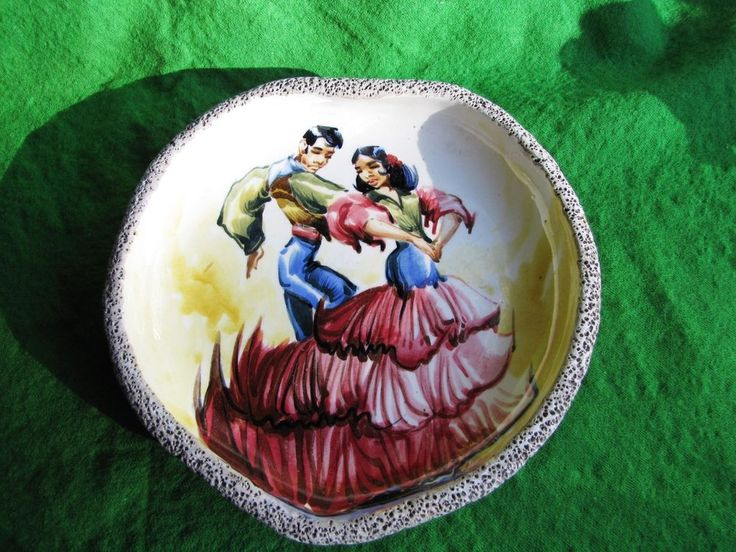 Flamenco Dance Wall Plate Tile Hand Painted Signed Tanegc heart red blue green