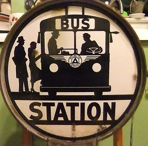 "Original Vintage Public Service Bus Stop Station 16"" Porcelain Enamel Sign N. J. in Collectibles, Advertising, Merchandise & Memorabilia, Signs, Original, 1930-69 | eBay"