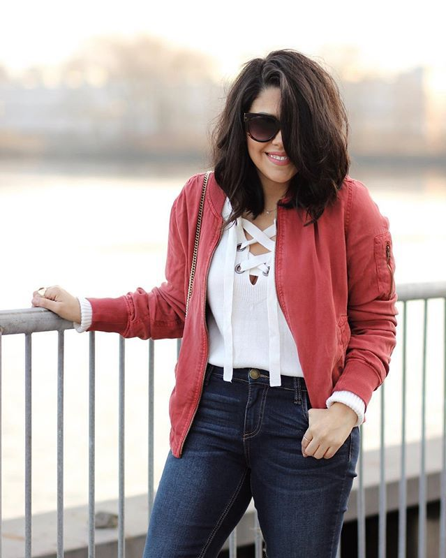 Currently crushing on: @natymichele's color poppin' bomber. #FixObsession