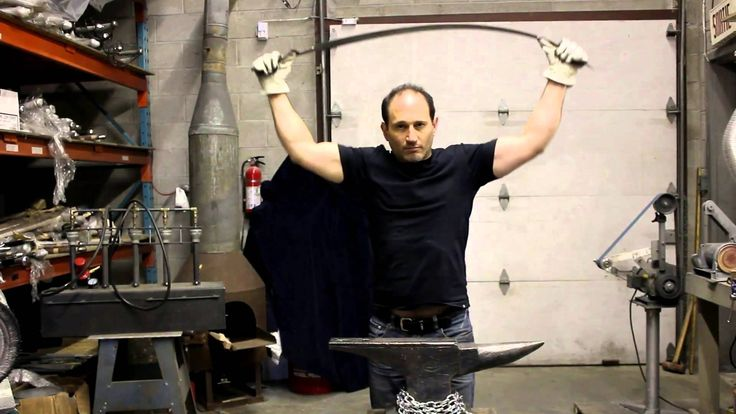 Darksword Armory, a Canadian sword manufacturer making a flex test, placing considerable stress to the blade while returning true. The blades are made of 5160 High Carbon Steel and dual hardened. https://darksword-armory.com/