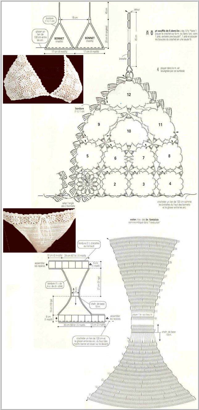 Anleitung Bra Set ... Patrones Crochet: 2 Bikinis de Crochet Blancos Patrones