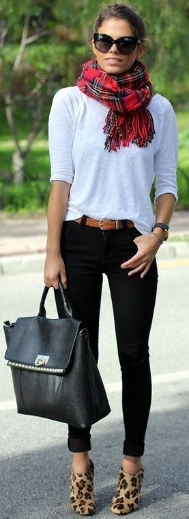 fall inspiration White top, black jeans, plaid scarf, animal print shoes, black purse