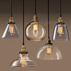 Permo Pendant Light Chandelier Vintage Industrial Clear Glass Chrome Brass Lamp in Home, Furniture & DIY, Lighting, Ceiling Lights & Chandeliers | eBay!
