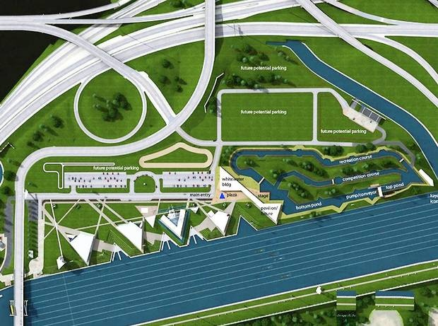 A Conceptual Design Shows The Proposed White Water Kayaking And Rafting Facility In Boathouse District Near Downtown Oklahoma City