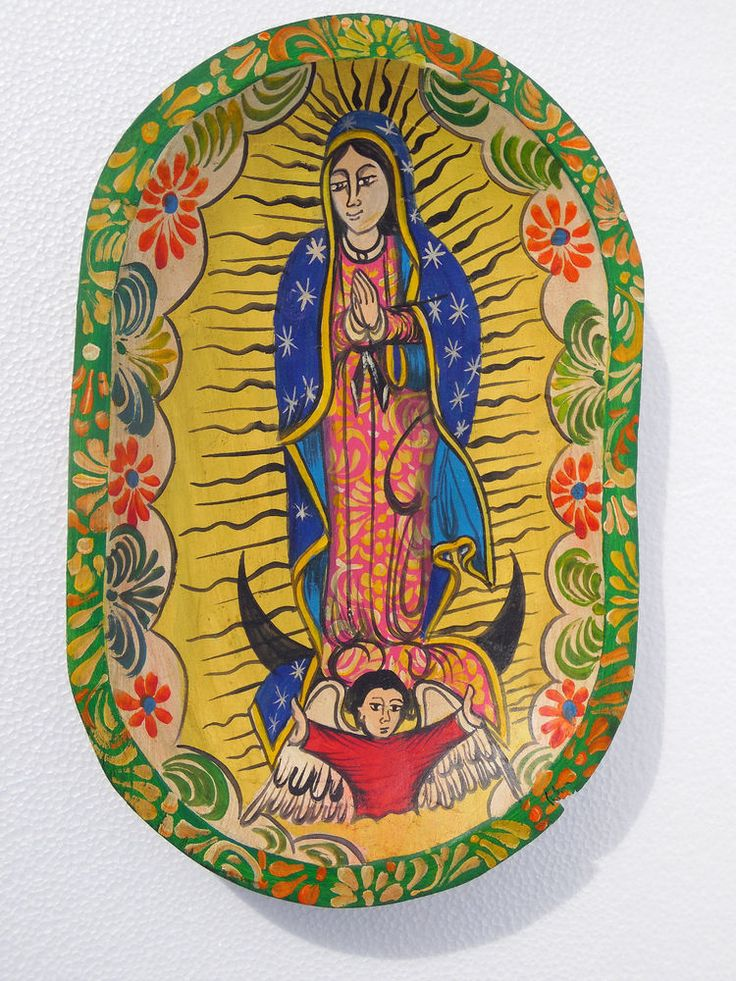Mexican hand painted wood dough bowl with our lady of guadalupe - batea punt