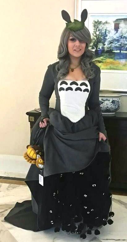 """""""Totoro ballgown by Iris, with Catbus purse and FABULOUS soot sprite underskirt! This is so cool."""""""