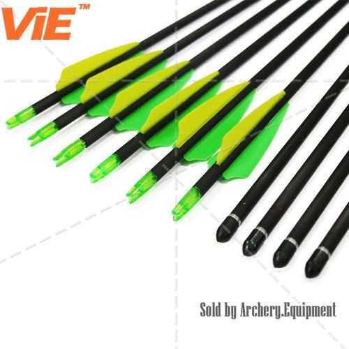 ViE 30 inch Spine 400 Pure Carbon Shaft Arrows with TPU Material Vane -12 pack