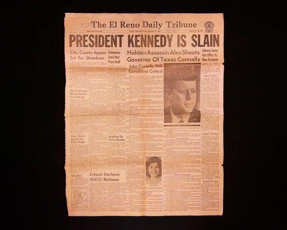 Nov 22, 1963, The El Reno Daily Tribune Newspaper, Oklahoma. President Kennedy Is Slain - John F. Kennedy Assassination, Lee H. Oswald Arrest - https://www.etsy.com/listing/259646928/nov-22-1963-the-el-reno-daily-tribune?ref=shop_home_active_1 #Etsy #JFK #Kennedy #President #JacquelineKennedyOnassis #OldNewspapers #ElReno #Oklahoma #VintageAdvertising #VintageNewspaper