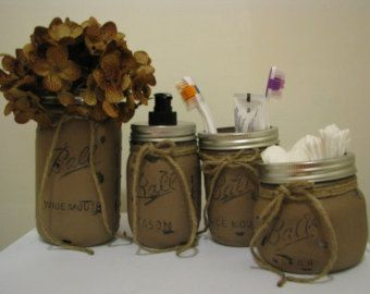 Primitive Bathroom Decor Mason Jar Bathroom by CountryHomeandHeart
