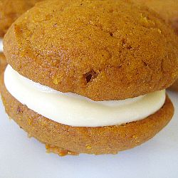 Pumpkin Whoopie Pies with Maple-Cream Cheese Filling | Brown Eyed Baker