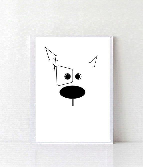 Animales arte imprimible, vivero de animales para imprimir, vivero decoración, Ilustración, impresión, arte de la pared decoración de la habitación, bambino de cartel de perro a los niños