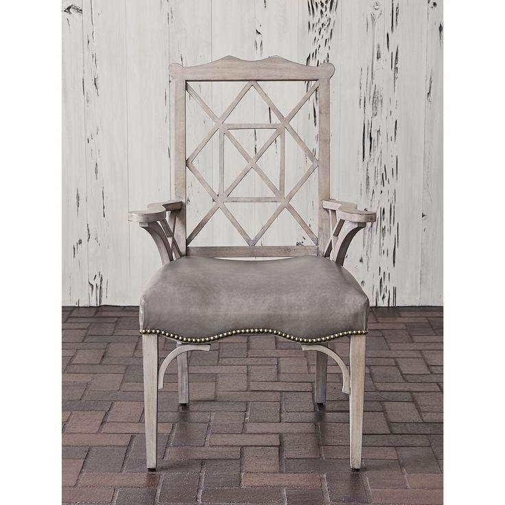 Ambella Home Century Arm Chair   Grey, Chippendale Design, Rubberwood,  Medium Walnut Or Weathered Grey Finish