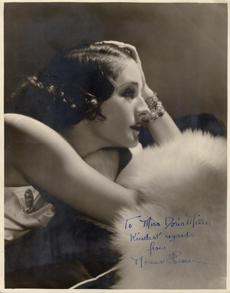 """Norma Shearer by George Hurrell. Inscribed in blue ink, """"To Miss Doris Miller, Kindest regards, from, Norma Shearer.""""Soyouthinkyoucansee on tumblr."""