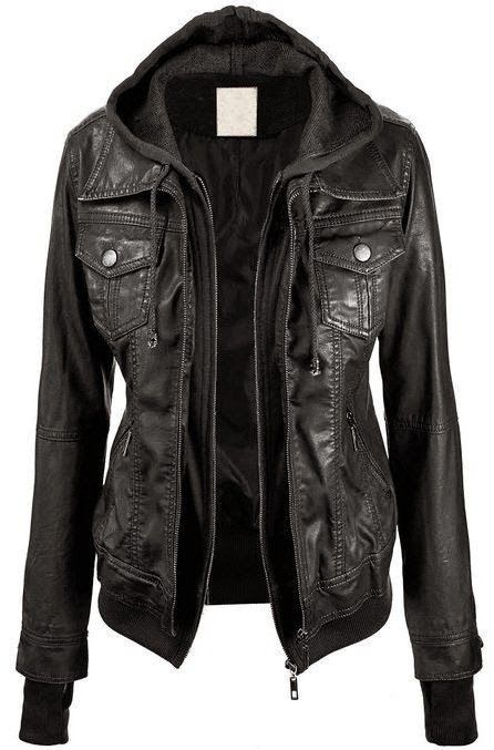 vintage clothes for cheap Lock and Love Women  39 s Hooded Faux Leather Jacket