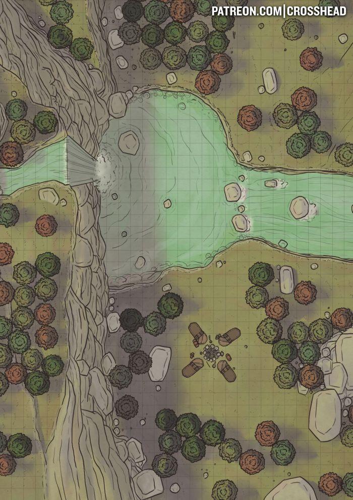 CrossheadStudios Forest Waterfall Camp Battlemap For D&D