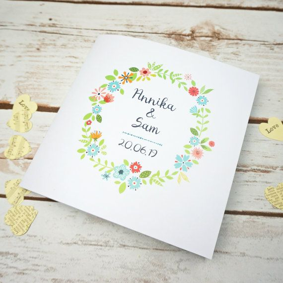 Tri fold 3 fold Floral Wedding Invitations by BlueBirdStationery