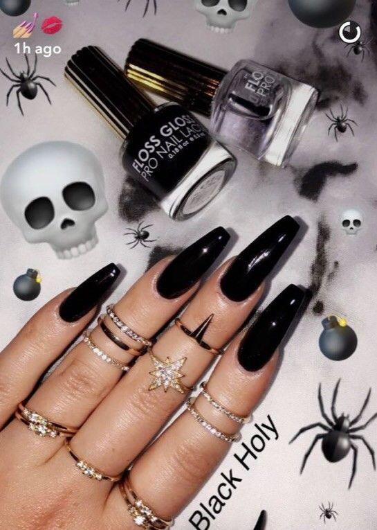 Set Of Painted Long Coffin Glossy Black Nails   – Nails