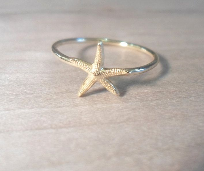 Starfish Knuckle Ring-Layering Above the Knuckle Ring Gold Brass Stackable Midi Ring-Starfish ring by AWildViolet on Etsy