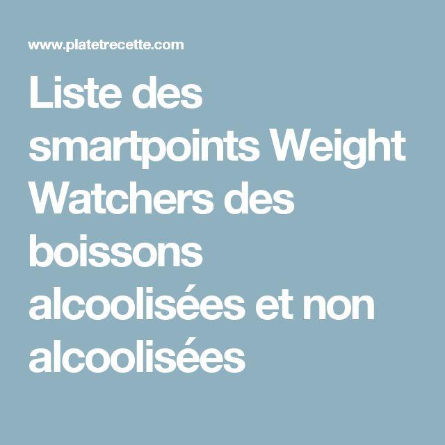Liste des smartpoints Weight Watchers des boissons alcoolisées et non alcoolisées