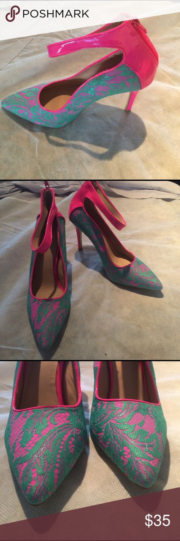 NWOT Shoedazzle Hot Pink & Green Lace Heels These have never been worn. There are a couple of tiny nicks on the zipper pull from storage. See pics. Shoe Dazzle Shoes Heels