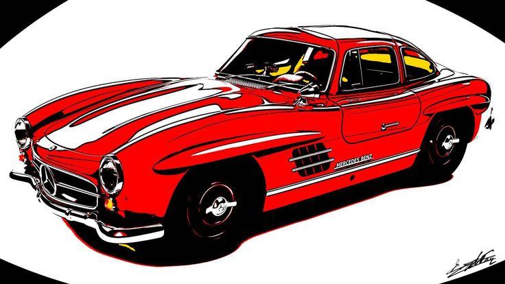 Tableau voiture Mercedes 300 SL peinture moderne rouge sur fond blanc peinte à la main par l'artiste peintre