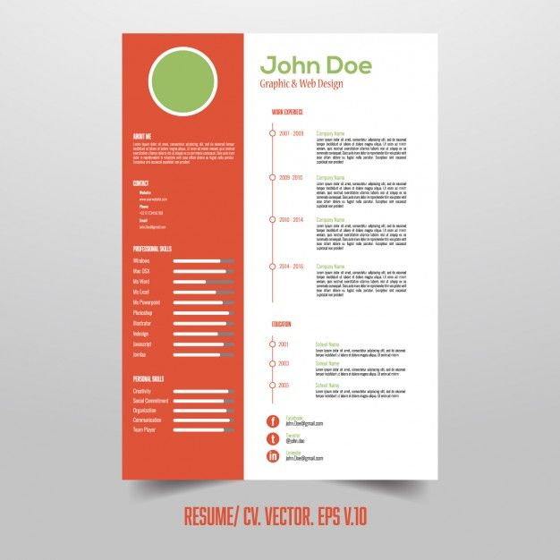 Resume template with useful infographic elements Free Vector
