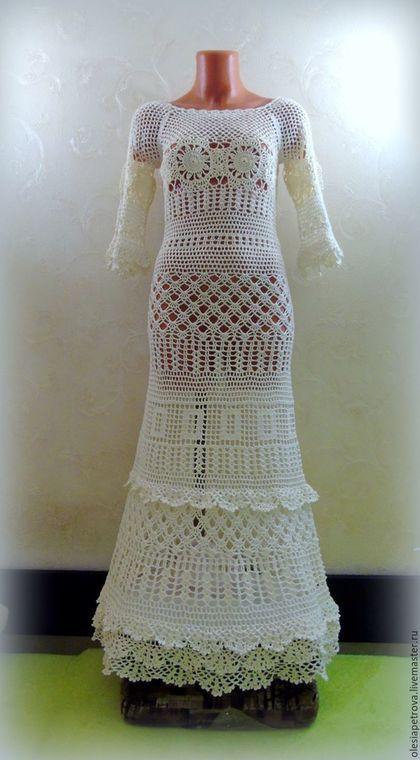 Купить или заказать Платье Сати длинное в интернет-магазине на Ярмарке Мастеров. Платье Сати связано крючком из мерсеризованного хлопка на заказ. Платье отлично подойдет для любого торжества, изящное платье с рюшами на рукавах и по низу платья отлично подчеркивает фигуру. Для тех кто ценит ручную работу, и устал от традиционных свадебных платьев, Бесконечных метров тюли - оно станет отличным решением в качестве платья невесты, бохо свадеб.