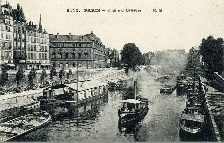 Le quai des Orfèvres et le bras de la Seine, vers 1900 (Paris1er)