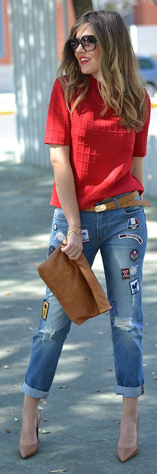 Red Top And Patched Denim Inspiration Outfit by Mi Aventura Con La Moda