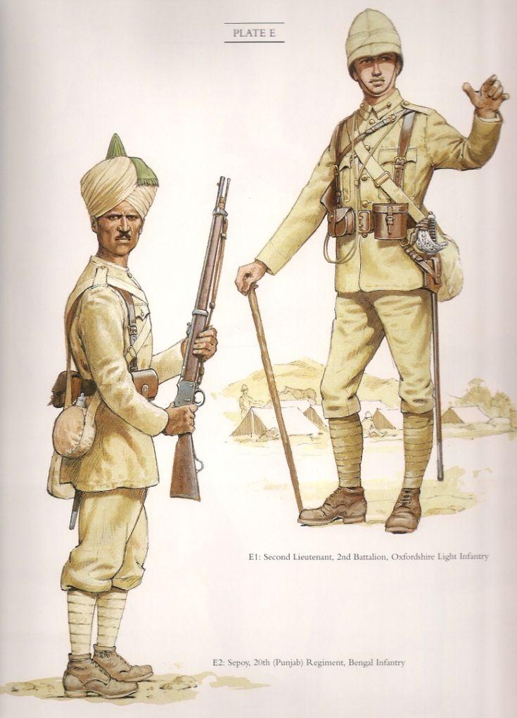 "Sepoy 20th(Punjab) Regiment Bengal Infantry & Second Lieutenant 2nd Battalion Oxfordshire Light Infantry c.1898. A colour plate from ""The Frontier Ablaze"""