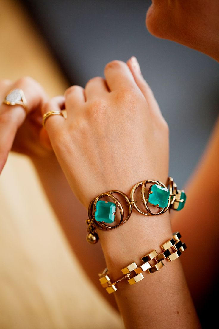 In the Lulu Frost studio with founder and cover girl Lisa Salzer (Photography by Rima Campbell): Jewerly, Hand, Style, Jewellery, Color, Green, Gold Bracelets, Jewelry, Accessories