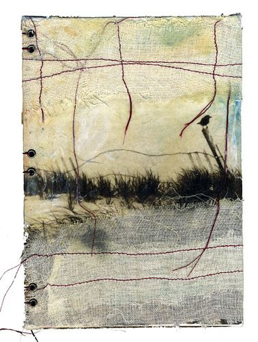 "mixed media by bridgette guerzon mills ""where truth echoes"", 5x7 mixed media panel bound as a cover for a blank journal. Encaustic, photo, cloth, thread, oil pastels"