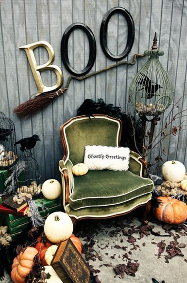 I'm beyond smitten with this fantastically cool, whimsically vintage Halloween decor setting. I especially like the crooked broom!