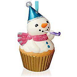 New Year's Snowman Keepsake Christmas Cupcake Ornament 2015 Hallmark