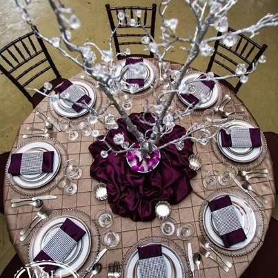 Beautiful table by @Mary Wallis Event Rentals love the Camel Pintuck with accents of silver and eggplant.