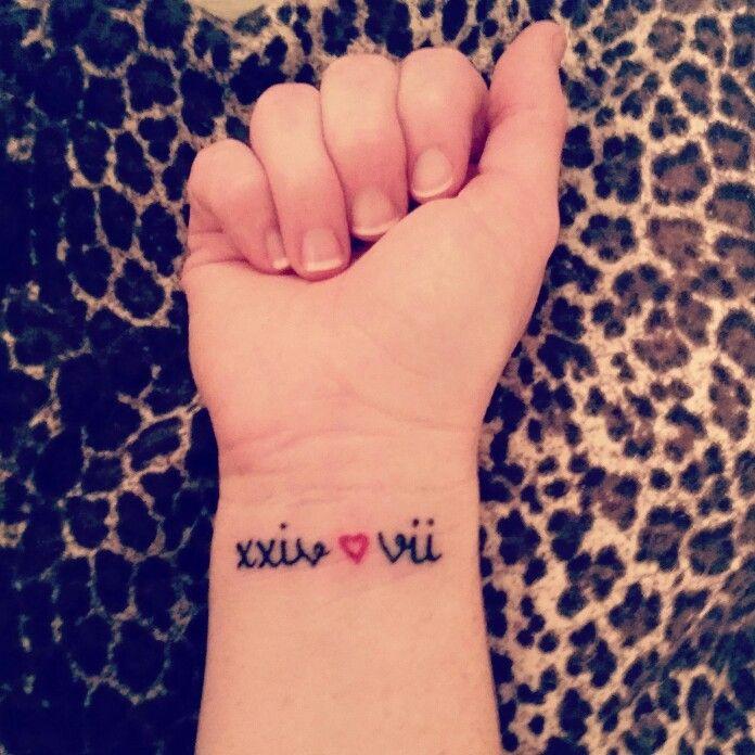 My Wedding Date Tattoo <3  #247 #husband #heart #weddingdate #truelove #forevernever #rockabilly #myoneandonly #romannumerals #rockabillytattoo
