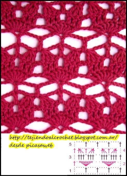 Pontos para crochê com seus padrões passo a passo, esquemas, - #c ...